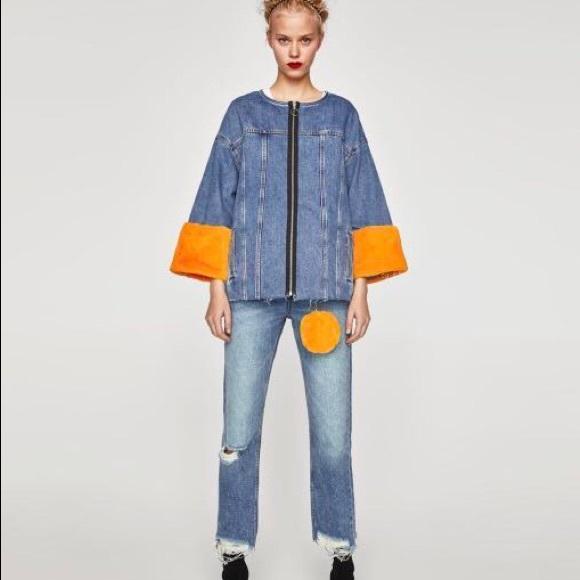 f3d31f98 Zara Jackets & Coats   Denim Jacket With Yellow Faux Fur Sz S   Poshmark